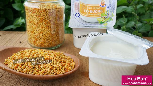 cách dùng phấn hoa ong với sữa chua