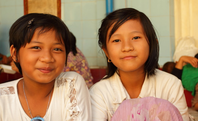 Smiling Burmese Girls at Sule Pagoda, Yangon, Burma