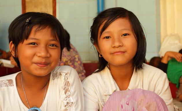 Smiling Burmese Girls at Sule Pagoda, Yangon, Burma
