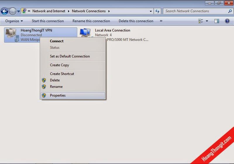 Tạo kết nối VPN trên VPN client