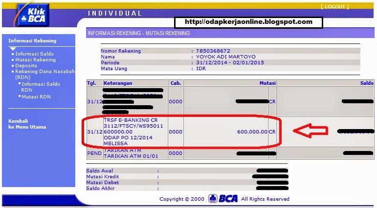Rek. BCA - Bukti Transfer Pembayaran ODAP Bulan Desember 2014