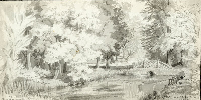 """The carp pond made by Thomas Wale 1767 and sketched by Louise Wale 1851. The stream from Whittlesford runs into this pond."" From A Record of Shelford Parva by Fanny Wale P7"