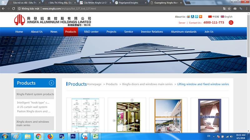 Website của công ty Xingfa Quảng Đông hàng thật