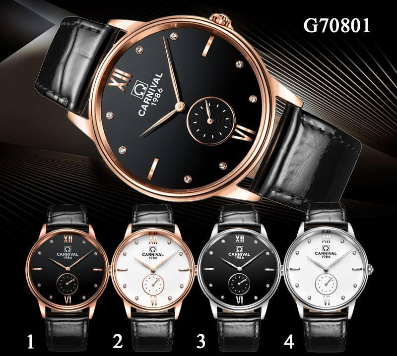 đồng hồ Carnival G70801 dây da