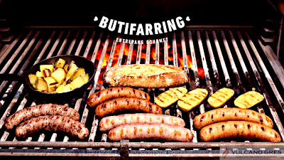RTE. BUTIFARRING Especialidad en salchichas al horno de brasa.  HORNOS DE BRASA VULCANO oscar@vulcanogres.com Tel. 0034 651039750 www.vulcanogres.com