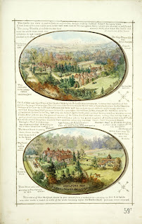 A Record of Shelford Parva by Fanny Wale P59 (NB There are two p59s - this is the second) fo. 61, page 592 : Two coloured watercolour bird's-eye views of Shelford hall from different angles copied from paintings by Col. Robert Wale, with information on Col. Wale. [fo.51]