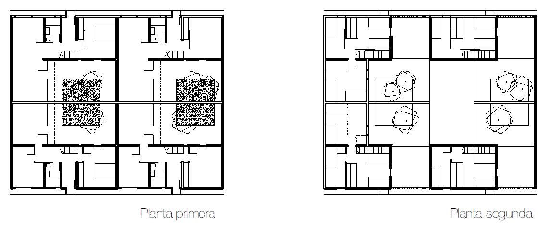 Four Patio Houses. Lower Level, Left; Upper Level, Right.
