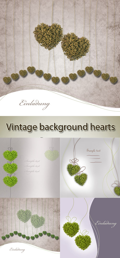 Stock Photo: Vintage background hearts