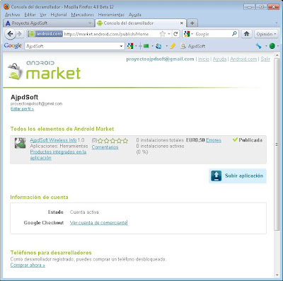 Configurar la cuenta de comerciante para recibir los pagos de las ventas de las aplicaciones Android en Android Market