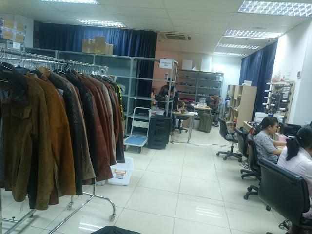 xưởng may áo da thật