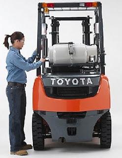 Xe nâng Toyota 1 tấn chạy xăng gas