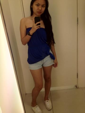 blue tube x denim shorts