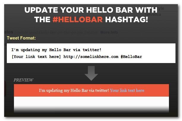 update hello bar melalui twitter