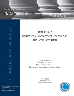 Credit Unions Community Development Finance and Great Recession Working Paper Cover