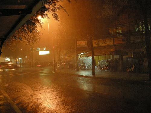Thơ mưa đêm trên phố