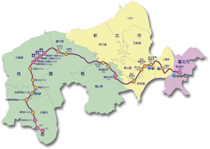 機場捷運線的路線圖