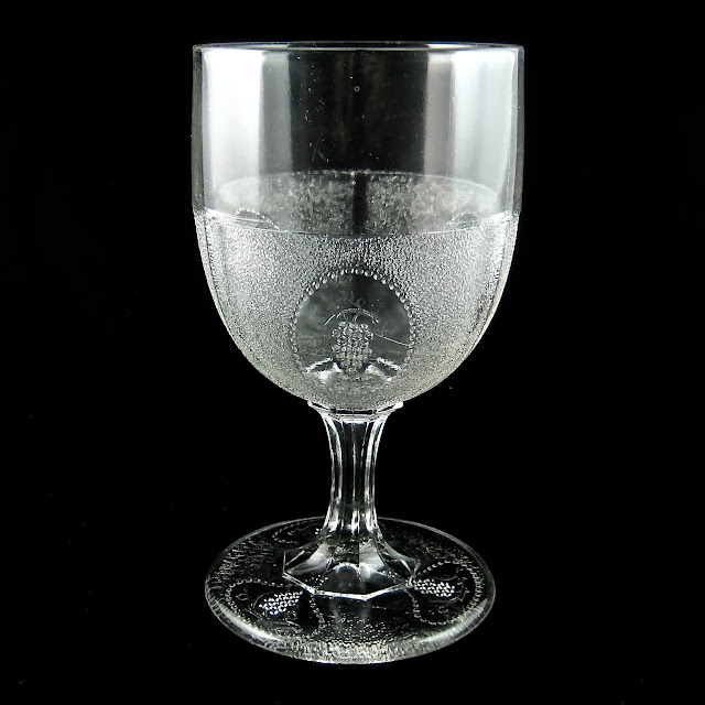 EAPG Beaded Grape Medallion Goblet