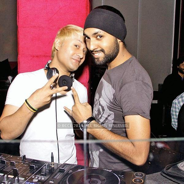 DJ Mickey (L) and DJ Simz during a party, held at Skooter, in Delhi.
