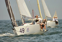 J/80 R80 sailing by Will and Marie Crump