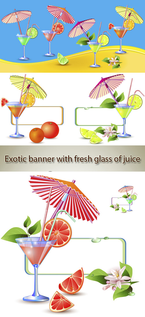 Stock: Exotic banner with fresh glass of juice