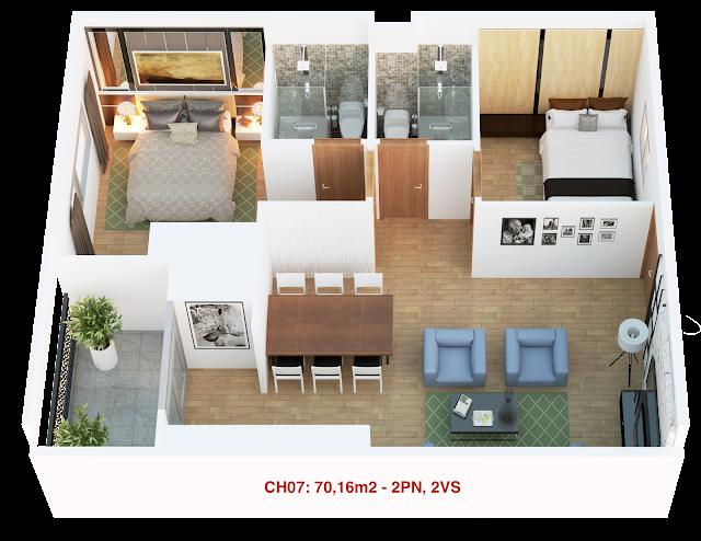Thiết kế căn hộ 07 tháp doanh nhân