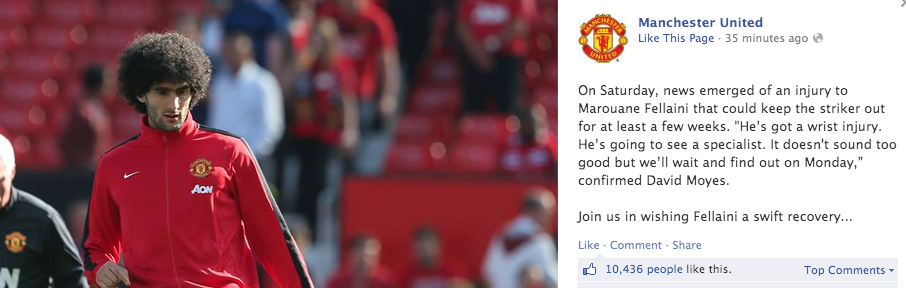 Screen+Shot+2013 10 07+at+14.10.05 Manchester United Facebook fans rejoice to the news that Marouane Fellaini is injured