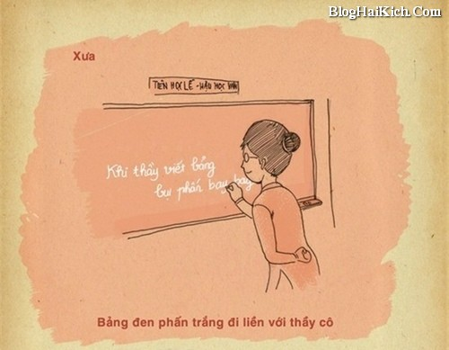 Tranh ý nghĩa về cô giáo ngày xưa