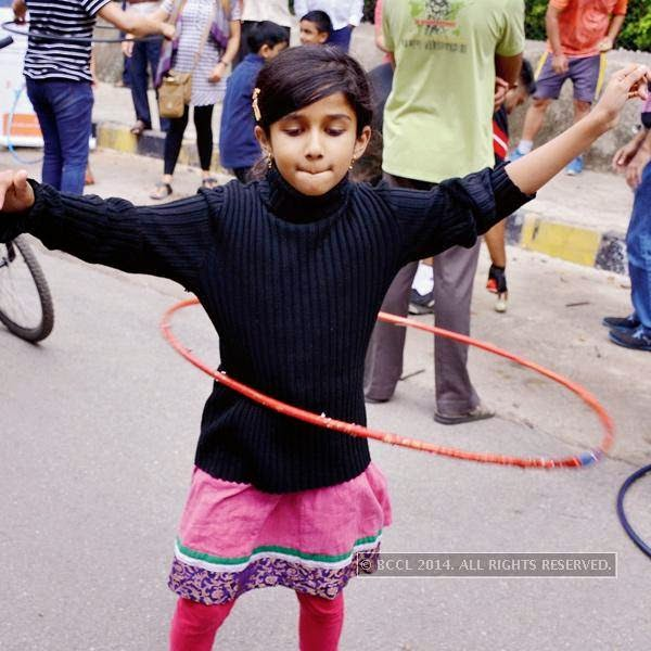 Children enjoy during the Cycle Day celebrations, in Bangalore.