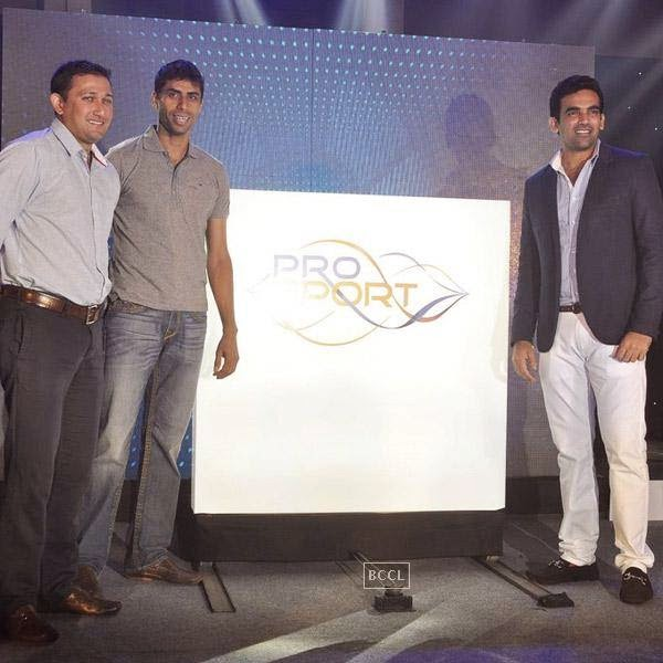 Indian cricketers Ajit Agarkar, Ashish Nehra and Zaheer Khan pose on stage for the photographers during the launch of Pro Sport centre, a fitness training and physiotherapy service centre, held in Mumbai, on July 29, 2014.(Pic: Viral Bhayani)