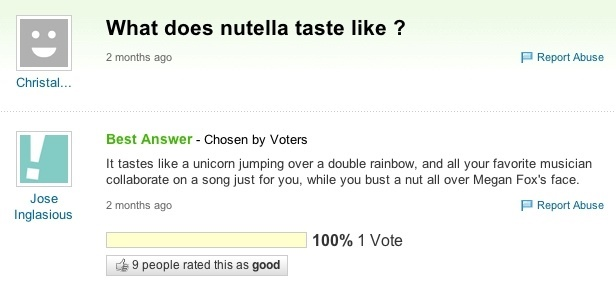 Nutella Yahoo Answer Definition