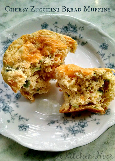 A Kitchen Hoors Adventures | Cheesy Zucchini Bread Muffins from Fantastical Sharing of Recipes