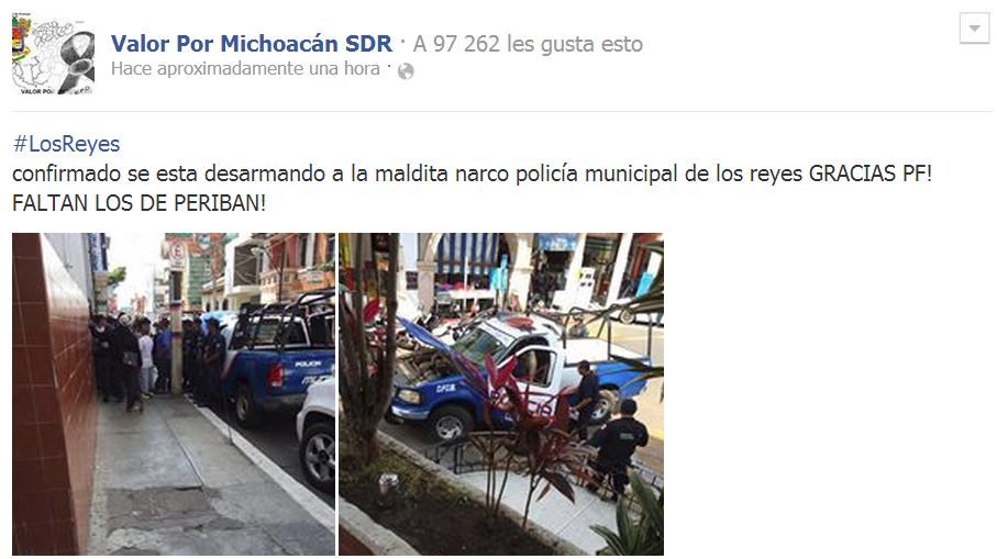 Desarman a policias municipales de los reyes en michoacan