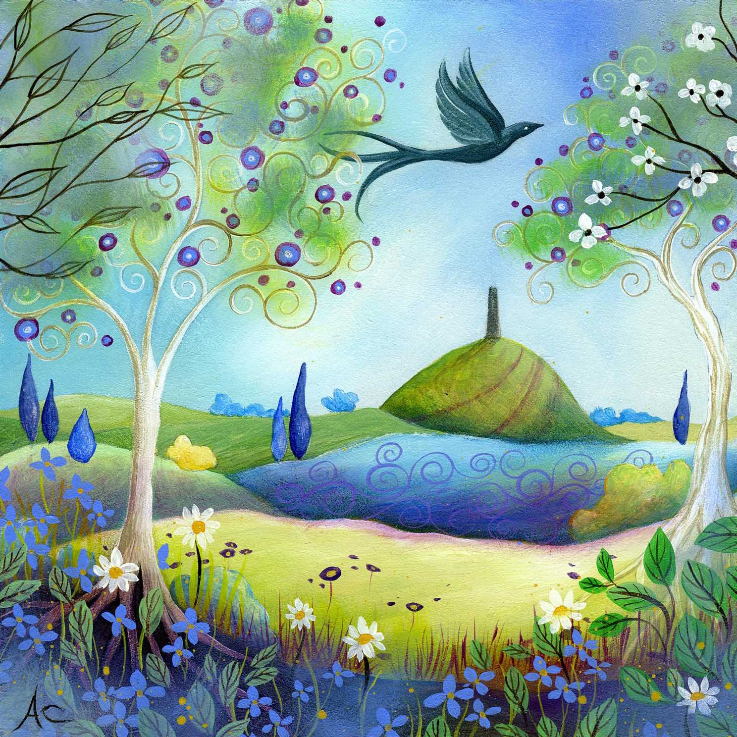 Earth angels art art and illustrations by amanda clark for Spring canvas paintings