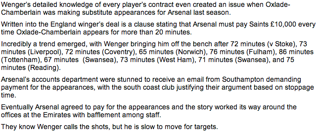 Did Arsene Wenger play The Ox in short spells last season due to a contract clause?