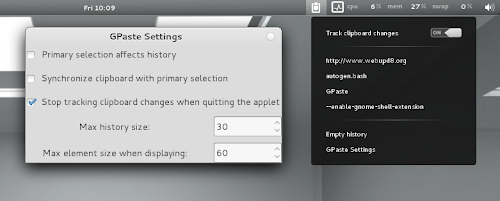 GNOME Shell GPaste clipboard manager