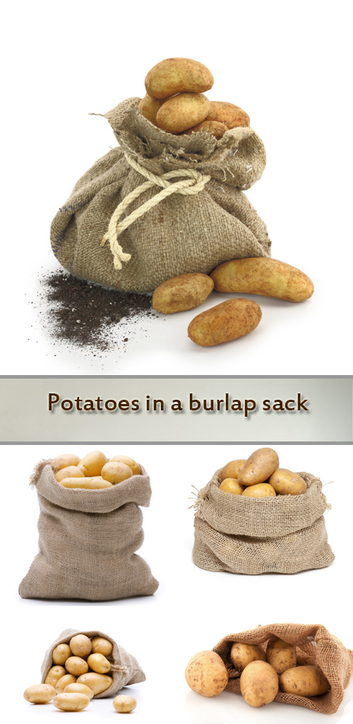 Stock Photo: Potatoes in a burlap sack