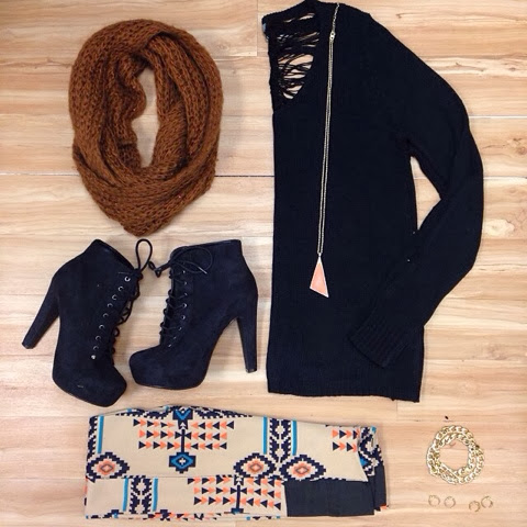 Brown scarf, black sweater, leggings and high heel boots