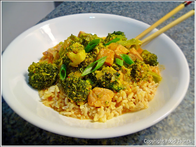 Curried Pork and Broccoli with Mango Chutney