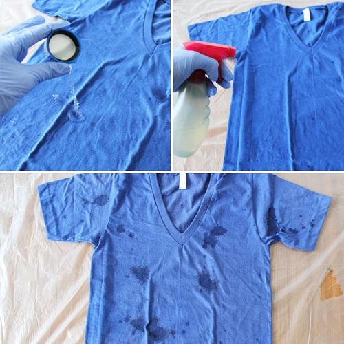 como customizar camiseta com água sanitária - camiseta manchada