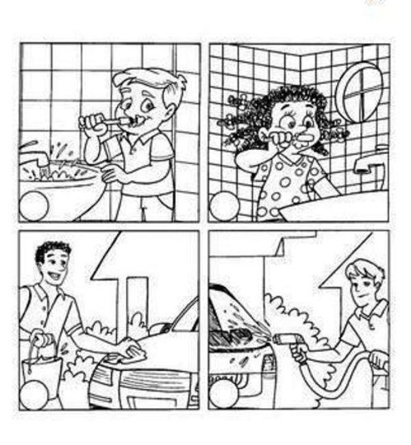 Colorear ahorro del agua (desperdicio del agua) - Portal Escuela