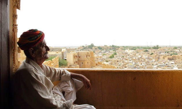 Elderly Rajasthani Gentleman and the Jaisalmer view
