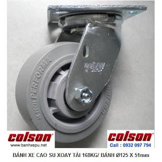 Bánh xe cao su đặc chịu lực 168kg Colson lăn không để vết | 4-5109-459