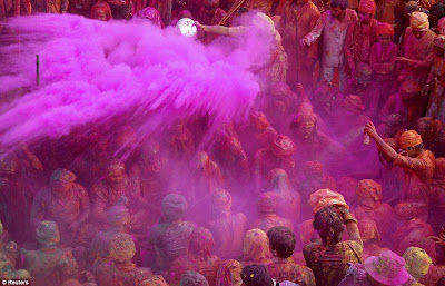Colorful Latmar Holi played in Mathura
