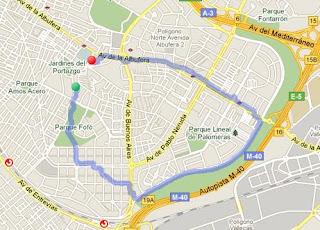 Ruta de entrenamiento en Vallecas
