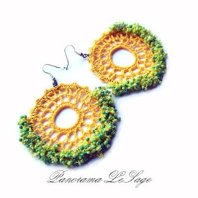 kolczyki koła na stelażu ażurowe artystyczne szydełkowe kolczyki Rosa na kole Panorama LeSage