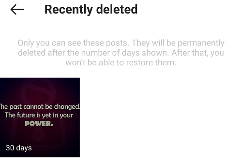 Recently deleted posts on Instagram