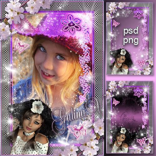 Рамка для девочек, девушек - Шляпка с цветами