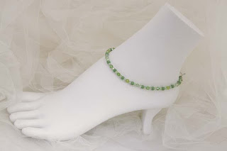 "Arbor - Green crystals & glass seed beads  9""   $18"