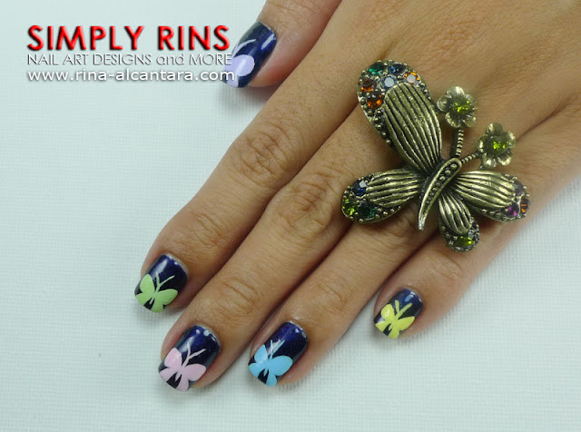 Colorful Butterfly Tips Nail Art Design