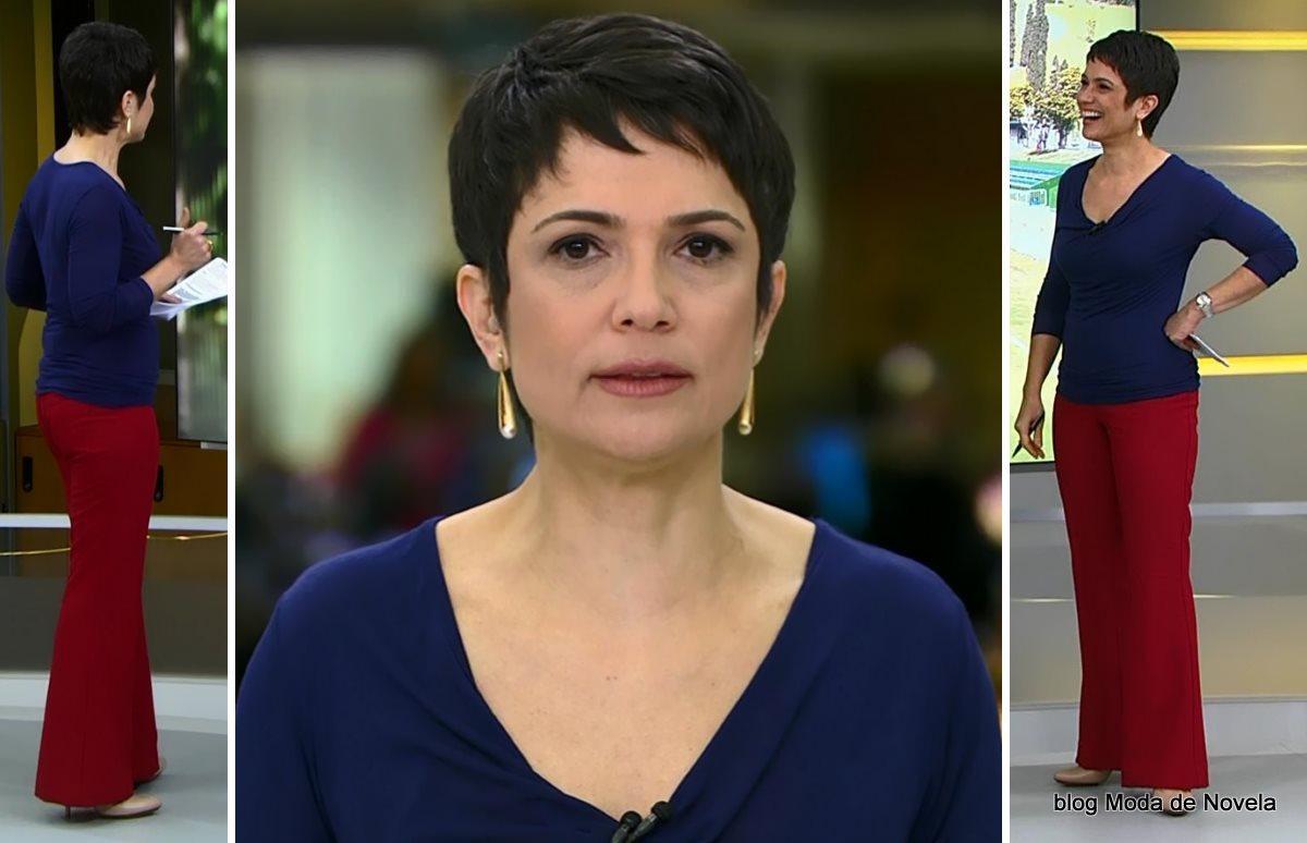 moda do programa Jornal Hoje - look da Sandra Annenberg dia 1º de julho